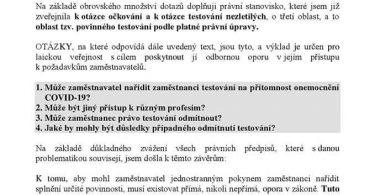 Právní stanovisko k povinnému testování Jana Zwyrtek Hamplová